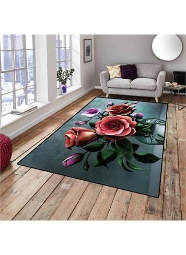 Halı 3 Boyutlu Vazo Güller Dekoratif 3D Salon Halıları 80X150Cm Renkli